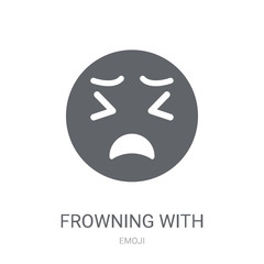 Frowning With Open Mouth emoji icon. Trendy Frowning With Open Mouth emoji logo concept on white background from Emoji collection