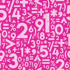 Seamless Vector Distressed Textured Math Operation Symbols and Numbers in Light and Hot Pink