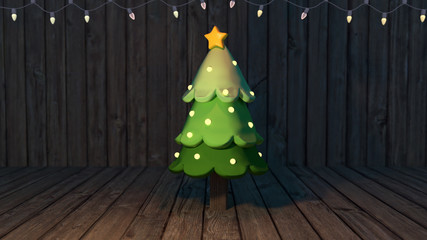 3d rendering picture of Christmas tree. Camera depth of field effect.