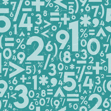 Seamless Vector Distressed Textured Math Operation Symbols and Numbers in Light & Dark Turquoise