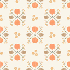 Seamless Vector Pumpkin, Acorn, Cranberry Damask in Pastel Orange, Brown, Peach, & Gray