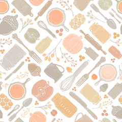 Seamless Vector Distressed Fall Baking Kitchen Utensil, Pumpkin, & Acorn Geometric Scatter - Pastel