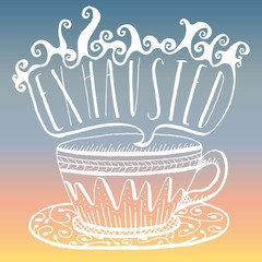 Vector Hand Lettering & Illustration - Stylized Coffee Cup with Saucer and Exhausted in Steam, Pastel