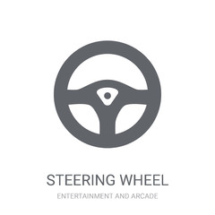 Steering wheel icon. Trendy Steering wheel logo concept on white background from Entertainment and Arcade collection