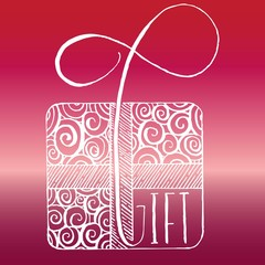 Vector Hand Lettering Illustration of Present with Word Gift, Decorated Wrapping Paper Ribbon, Pink