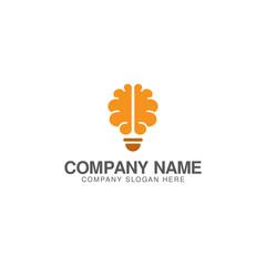Light bulb and brain logo design vector template