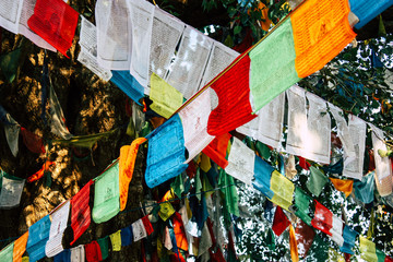 View of the colorful Tibetan flag