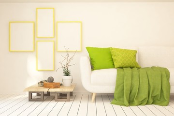 Idea of white minimalist room with green sofa. Scandinavian interior design. 3D illustration