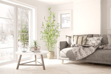 White room with sofa and winter landscape in window. Scandinavian interior design. 3D illustration Wall mural