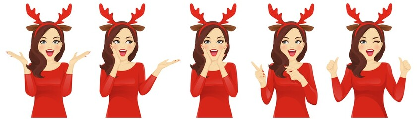Surprised christmas woman in reindeer headband vector illustration