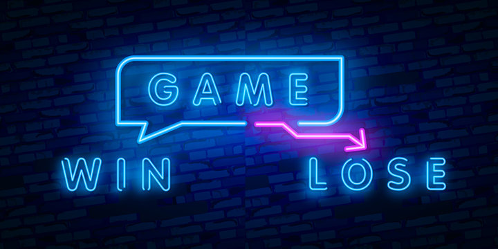 Neon Concept of winner and loser Vector Illustration. Glowing neon sign, bright glowing