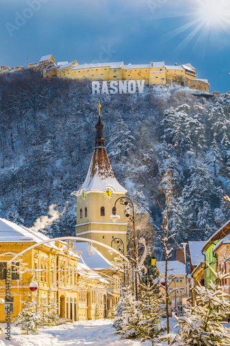 Wall mural Landscape with Rasnov town and medieval fortress, Brasov, Transylvania, Romania