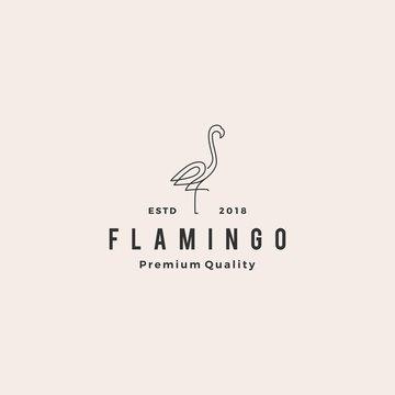 flamingo logo vector line outline monoline icon illustration