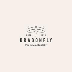 dragonfly logo vector line outline monoline icon illustration