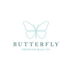 butterfly logo vector line outline monoline icon illustration