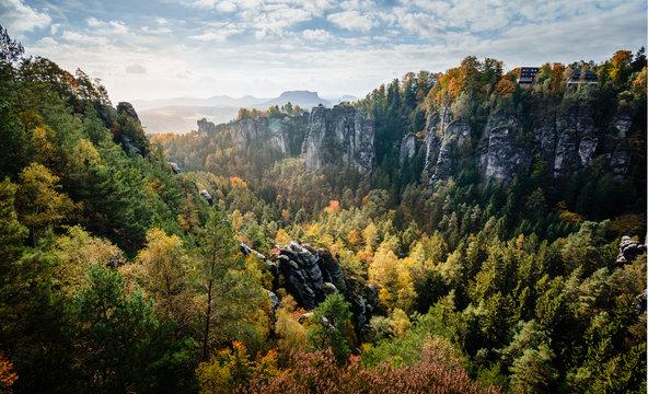 Elbsandsteingebirge Sächsische Schweiz im Herbst