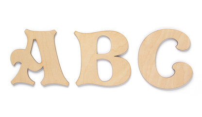wooden letters isolated at white