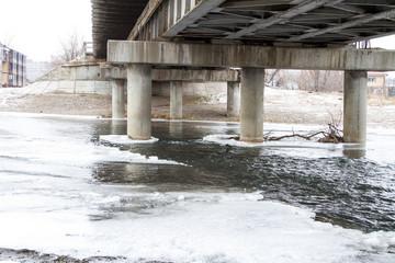 Polynya under the bridge supports