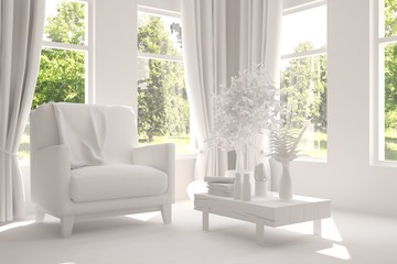 White room with armchair and green landscape in window. Scandinavian interior design. 3D illustration