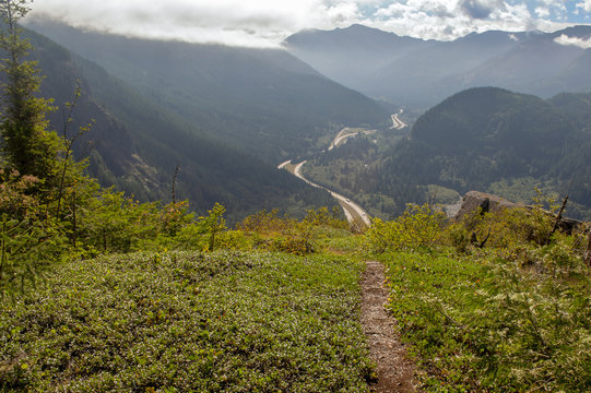 Hiking trail with a view of Interstate 90 in Washington state