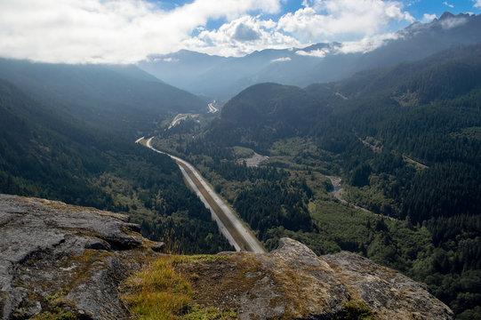 Rock cliffs overlooking Interstate 90 in Washington state