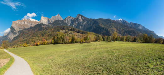 Wall Mural - panorama fall color mountain landscape in the Maienfeld region of Switzerland with snowy peaks and colorful trees with a meadow and gravel road