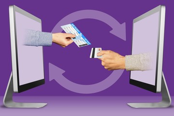 online concept, two hands from laptops. air ticket and hand with credit card. 3d illustration