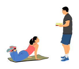 Personal trainer motivates young woman vector isolated. Fit lady exercise with professional help. Losing weight advice from coach. Fitness girl workout and doing push up in gym. Health care active.