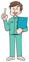作業着を着た男性 書類