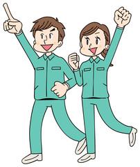 作業着を着た男女グループ