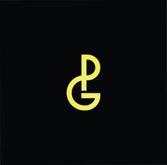 Initial letter GP PG minimalist art logo, gold color on black background.