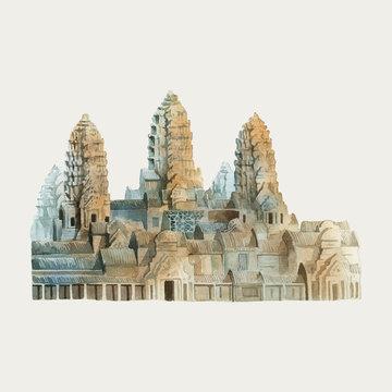 Angkor Wat in Siem Reap watercolor painting
