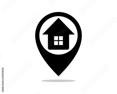 silhouette vector pin house sign symbol icon logo template design