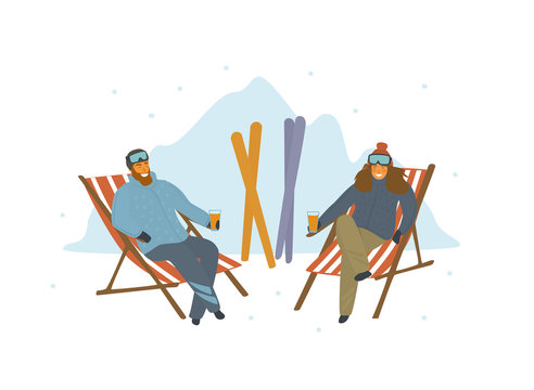 man and woman skiers relaxing after skiing on lounge chairs at resort, cartoon isolated vector illustration scene