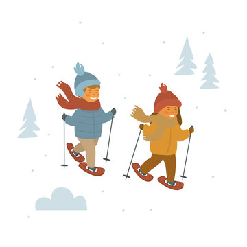 cute children boy and girl snowshoeing in winter forest isolated vector illustration cartoon graphic