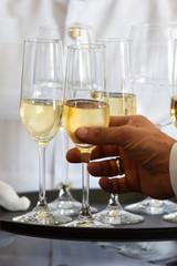 Waiter tray white wine
