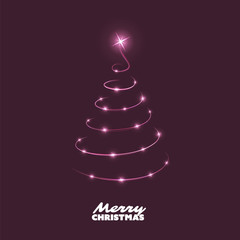 Merry Christmas, Happy Holidays Card - Dark Christmas Tree Shape Made from Bright Spiraling Light