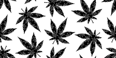 Marijuana seamless pattern Weed vector cannabis leaf camouflage scarf isolated repeat wallpaper tile background white