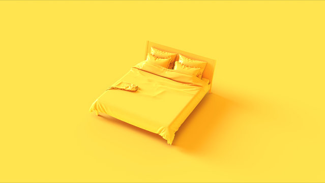 Yellow Bed 3d illustration 3d rendering
