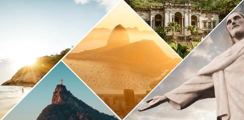 Rio de Janeiro, Brazil - December 16, 2017: Collage of main tourists destinations in Rio de Janeiro, Brazil
