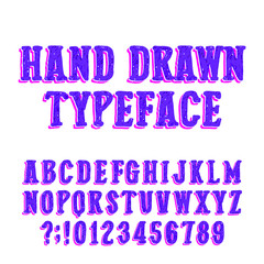 Hand drawn typeface. Vector alphabet font. Uppercase sketch letters and numbers on white background.
