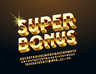 Vector chic Logo Super Bonus. Rotated exclusive Alphabet Letters, Numbers and Symbols. Golden 3D Font.