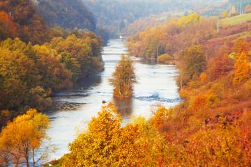 Croatia, Korana river valley near Karlovac, colorful fall landscape