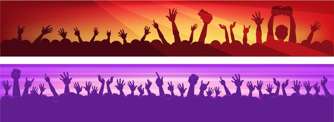 Human silhouettes in massive crowd with raised hands that hold modern devices in colorful neon spotlights at concert cartoon flat vector illustrations