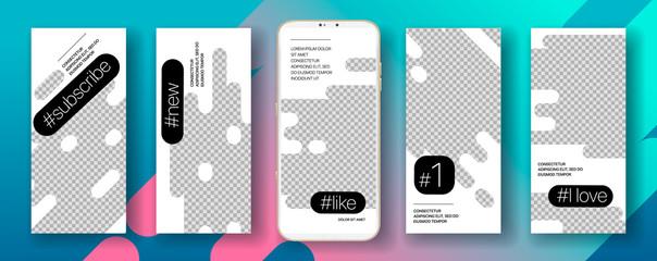 Social media Stories frame template Mobile app ui. Vector image
