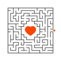 Abstract square maze. Game for kids. Puzzle for children. One entrance, one exit. Labyrinth conundrum. Flat vector illustration isolated on white background. Concept of love.