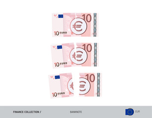 10 Euro Banknote. Ripped moneys. Flat style vector illustration. Business finance concept.