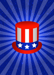 Background with symbols of USA. Top Hat. Symbolic flag of USA - red stripes, white stars on blue background. Blue background with center rays, grunge texture.
