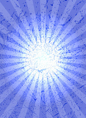 Blue background with center rays, grunge texture.