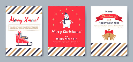 A set of posters or postcards Christmas market.
